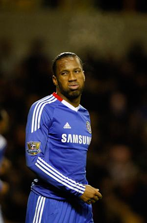 Chelsea's Didier Drogba, reacts during his teams English Premier League soccer match against Wolverhampton Wanderers at the Molineux stadium, Wolverhampton England. Wednesday, Jan. 5, 2011. (AP Photo/Simon Dawson) NO INTERNET/MOBILE USAGE WITHOUT FOOTBALL ASSOCIATION PREMIER LEAGUE (FAPL) LICENCE. CALL +44 (0) 20 7864 9121 or EMAIL info@football-datco.com FOR DETAILS