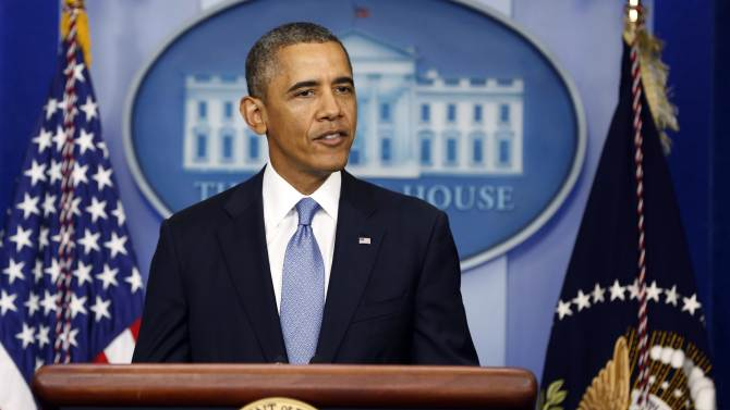 U.S. President Barack Obama makes a statement to the press in the briefing room of the White House