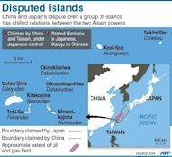 <p>Graphic showing disputed islands claimed by Japan and China known as Senkaku by Tokyo and Diaoyu by Beijing.</p>