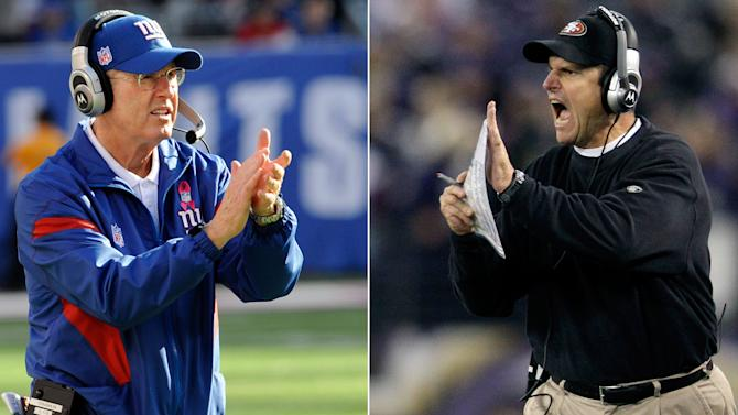 FILE - At left, in a Dec. 1, 2011 file photo, New York Giants head coach Tom Coughlin gestures on the sideline during an NFL game against the Dallas Cowboys, in East Rutherford, N.J. At right, in a Nov. 24, 2011 file photo, San Francisco 49ers head coach Jim Harbaugh gestures during an NFL game against the Baltimore Ravens, in Baltimore.  The Giants and 49ers play in the NFC Championship football game on Sunday, Jan. 22, in San Francisco. (AP Photo/File)