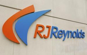 An R.J. Reynolds sign seen outside cigarette manufacturing facility in Tobaccoville