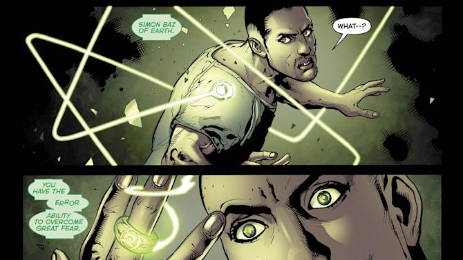 This image provided by DC Comics via Bender/Helper Impact shows interior panels of the November 2012 issue of the latest Green Lantern series featuring the character Simon Baz, DC Comics most prominent Arab-American superhero and the first to wear a Green Lantern ring. The character and creator share Lebanese ancestry and hail from the Detroit area, which boasts one of the largest and oldest Arab communities in the United States. (AP Photo/DC Comics via Bender/Helper Impact)