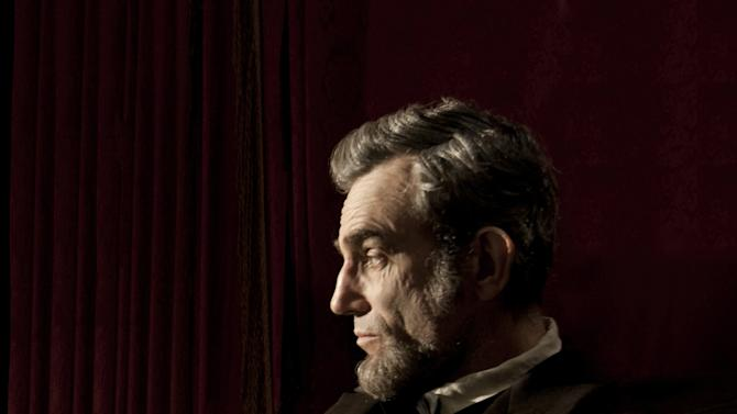 """FILE - This publicity film image released by Walt Disney Pictures shows Daniel Day-Lewis portraying Abraham Lincoln in the film """"Lincoln.""""  Late prospects for Oscar contenders, include Steven Spielberg's """"Lincoln,"""" Tom Hooper's """"Les Miserables,"""" director Kathryn Bigelow's """"Zero Dark Thirty,"""" and creator Peter Jackson's """"The Hobbit: An Unexpected Journey,"""" the first in his three-part """"Rings"""" prelude. (AP Photo/Disney-DreamWorks II, David James, File)"""