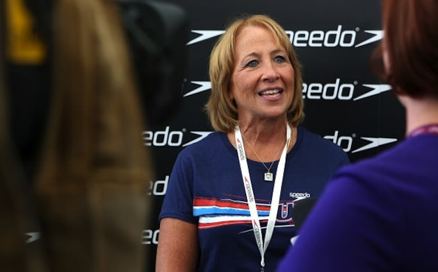 Ike Lochte, Ryan Lochte's mother, speaks in London on July 31 &#x002014; Getty Images