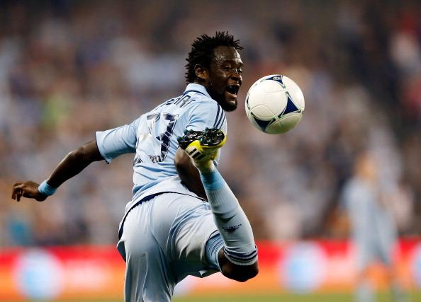 Kei Kamara #23 of Sporting KC controls the ball during the MLS soccer game against the New York Red Bulls at Livestrong Sporting Park on August 26, 2012 in Kansas City, Kansas. (Photo by Jamie Squire/Getty Images)