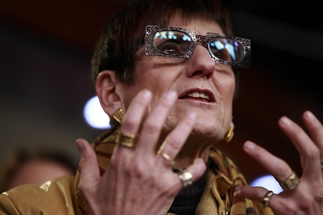 Rep. Rosa DeLauro, D-Conn. speaks about birth control and contraceptive coverage, Thursday, Feb. 9, 2012, during a news conference on Capitol Hill in Washington. (AP Photo/Charles Dharapak)
