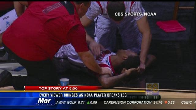 Every viewer cringes as NCAA player breaks leg