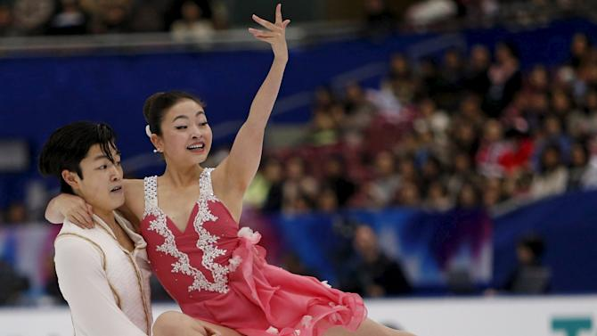 Maia Shibutani and Alex Shibutani of the U.S. perform during the ice dance short dance program at the ISU Grand Prix of Figure Skating in Nagano