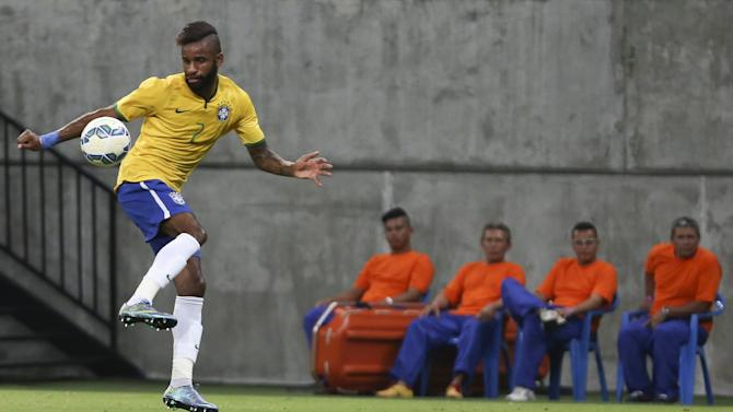Maicon of Brazil's Under-23 team controls the ball during their friendly soccer match against Dominican Republic's Under-23 team in Manaus