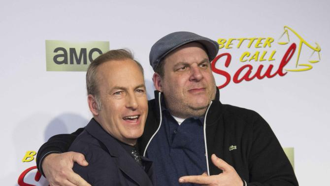"Cast member Odenkirk and actor Garlin pose at the premiere of the television series ""Better Call Saul"" at the Regal Cinemas L.A. LIVE in Los Angeles"