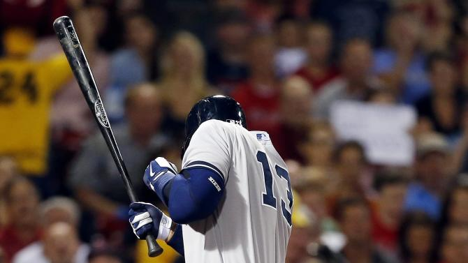 New York Yankees' Alex Rodriguez is hit by a pitch from Boston Red Sox's Ryan Dempster in the second inning of a baseball game in Boston, Sunday, Aug. 18, 2013. (AP Photo/Michael Dwyer)