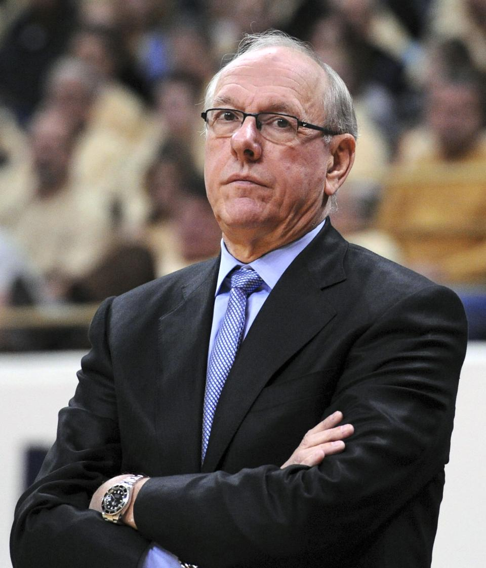 Syracuse coach Jim Boeheim watches from the sideline during an NCAA college basketball game against Pittsburgh in Pittsburgh, Saturday, Feb. 2, 2013. (AP Photo/John Heller)