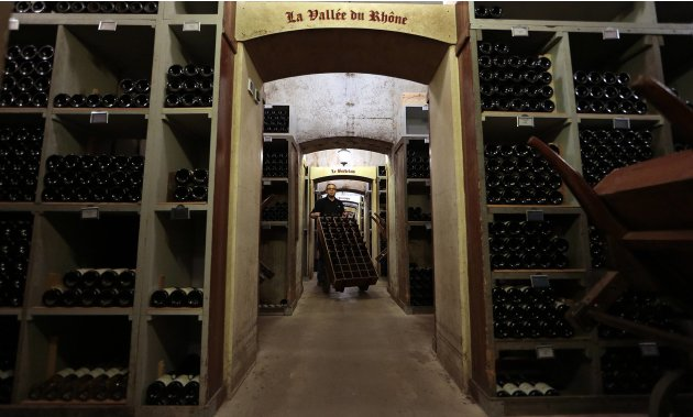 Gennero Iorio, Cellar chief of the Hotel de Paris stores wine bottles in the cellar of the Hotel De Paris in Monaco