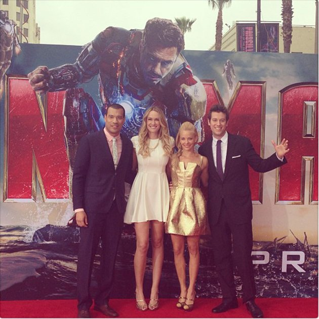 Our illustrious Yahoo! red carpet talent at Wednesday night's 'Iron Man 3' premiere