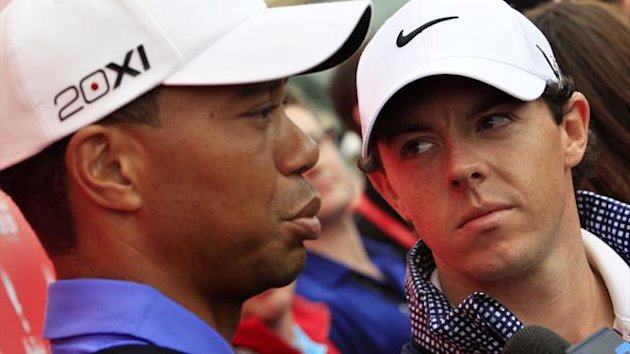 Rory McIlroy and Tiger Woods at the Abu Dhabi Golf Championships