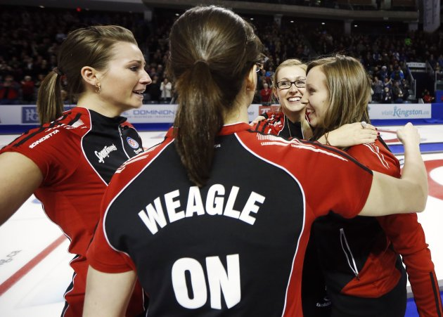 Ontario skip Homan celebrates with her teammates after defeating Manitoba to win their gold medal game at the Scotties Tournament of Hearts curling championship in Kingston