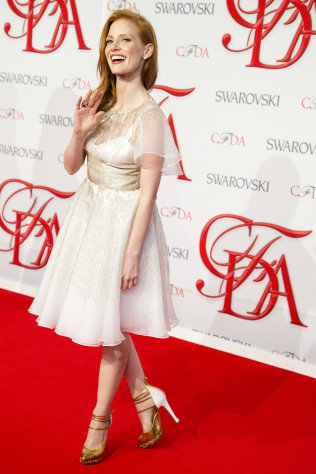Jessica Chastain arrives at the CFDA Fashion Awards on Monday, June 4, 2012, in New York. (Photo by Charles Sykes/Invision/AP)