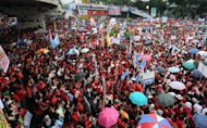 Some 7,000 Catholic people attend an anti reproductive health (RH) bill rally in Manila. The Philippines' dominant Roman Catholic church sent thousands of its members on the streets of the capital against a proposed law that seeks to induce the poor to have less children