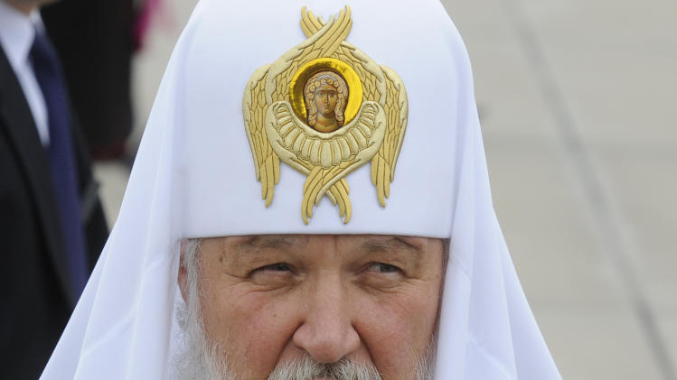 Patriarch Kirill , leader of the Russian Orthodox Church, speaks to the press  at the Military Airport in Warsaw, Poland, Thursday, Aug. 16, 2012. Patriarch Kirill came to Poland for a four day official visit. (AP Photo/Alik Keplicz)