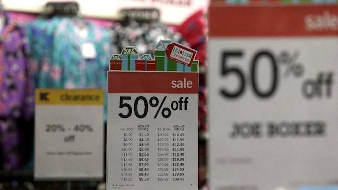 In this Thursday, Nov. 28, 2013, photo, sale signs are displayed at a Kmart, in New York. Sales are up 2 percent through Sunday, Dec. 15, 2013, according to data obtained by The Associated Press from store data tracker ShopperTrak, on Wednesday, Dec. 18, 2013, which declined to give dollar figures. The modest growth so far comes as the amount of discounting stores are doing is up 13 percent from last year, the highest level its been since 2008 when stores were holding huge sales events to draw in recession-weary shoppers, according to research firm BMO Capital Markets. (AP Photo/Julio Cortez)