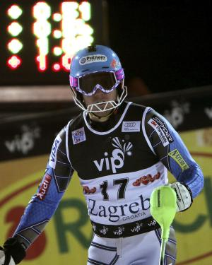 Ted Ligety, of the United States, arrives in the finish area after the second run of a men's World Cup slalom alpine ski event in Zagreb, Croatia, Thursday, Jan. 5, 2012. Ted Ligety placed 14th. (AP Photo/Marco Trovati)