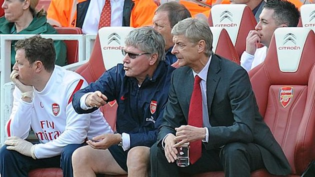 Arsene Wenger, right, says Pat Rice, left, deserves his MBE