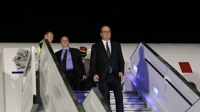 French President Francois Hollande arrives at Catam Military airport in Bogota