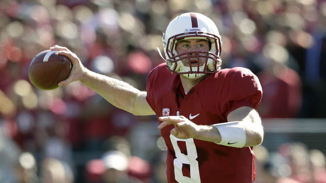 Stanford quarterback Kevin Hogan (8) passes against Oregon State during the first quarter of an NCAA college football game in Stanford, Calif., Saturday, Nov. 10, 2012. (AP Photo/Jeff Chiu)