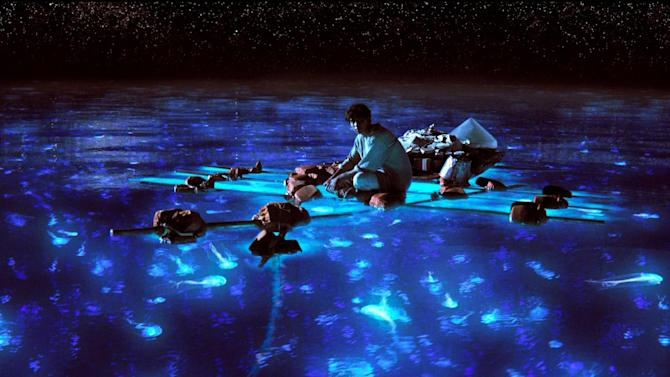"""This publicity photo released by 20th Century Fox shows Suraj Sharma as Pi Patel taking in the bioluminescent wonders of the sea in a scene from the film, """"Life of Pi."""" With 11 Academy Awards nominations, second only to """"Lincoln"""" with 12, and the sort of global box-office receipts normally reserved for superheroes, """"Life of Pi"""" is one of the most unusual megahits ever to hit the big-screen.  (AP Photo/20th Century Fox)"""