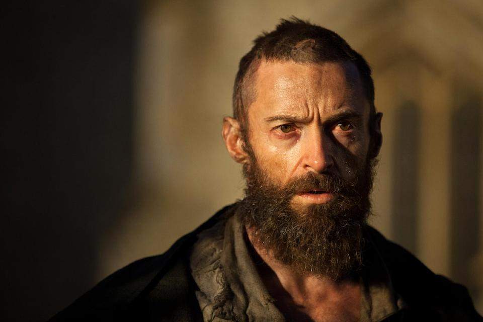 "This film image released by Universal Pictures shows Hugh Jackman as Jean Valjean in a scene from ""Les Miserables."" (AP Photo/Universal Pictures, Laurie Sparham)"