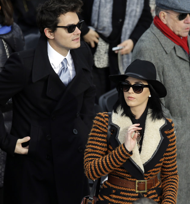 John Mayer and Katy Perry arrives for the ceremonial swearing-in of President Barack Obama at the U.S. Capitol during the 57th Presidential Inauguration in Washington, Monday, Jan. 21, 2013. (AP Photo