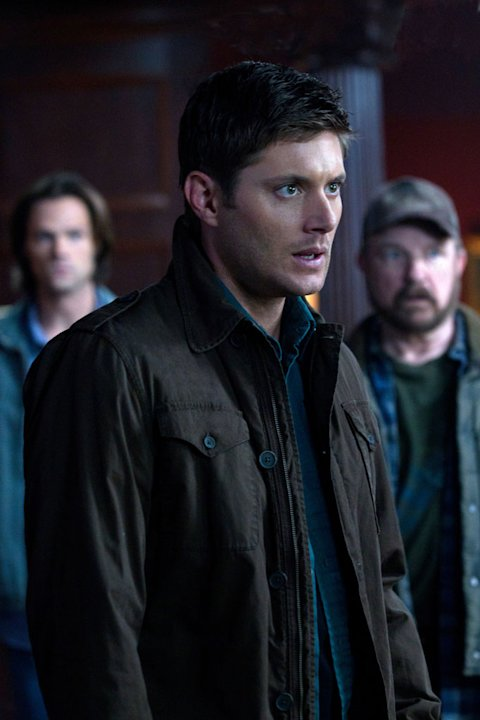 &quot;Meet the New Boss&quot;  - (L-R): Jared Padalecki as Sam Winchester, Jensen Ackles as Dean  Winchester (foreground), and Jim Beaver as Bobby Singer in &quot;Supernatural.&quot; 