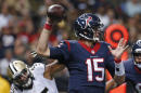 Houston Texans quarterback Ryan Mallett (15) passes under pressure from New Orleans Saints outside linebacker Hau'oli Kikaha (45) in the first half of a preseason NFL football game in New Orleans, Sunday, Aug. 30, 2015. (AP Photo/Jonathan Bachman)