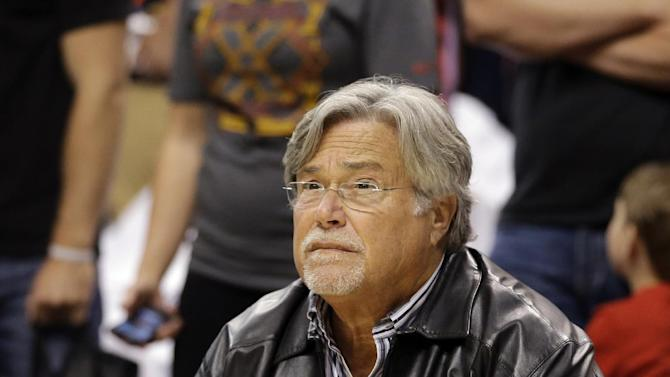 Miami Heat owner Mickey Arison watches as the team prepares for Game 3 of the NBA Eastern Conference basketball playoff finals against the Indiana Pacers in Indianapolis, Sunday, May 26, 2013. (AP Photo/Nam H. Huh)