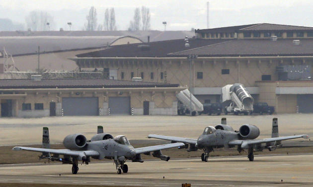 U.S. Air Force A-10 attack aircraft wait to take off on the runway during their military exercise at the Osan U.S. Air Base in Pyeongtaek, south of Seoul, South Korea, Tuesday, April 2, 2013. North Ko