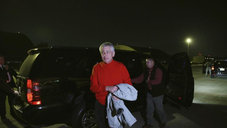 U.S. Secretary of Defense Chuck Hagel arrives at the Andrews Air Force Base in Camp Springs, Maryland