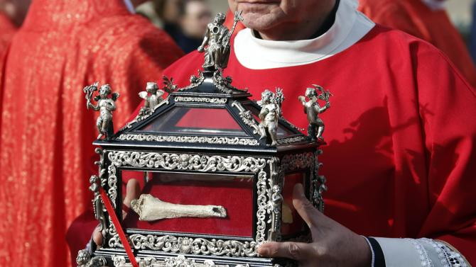 The Relics of Saint Devote are presented in the square during the traditional Sainte Devote celebration procession in Monaco