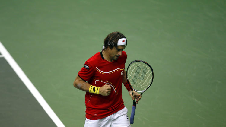 Spain's David Ferrer reacts after winning a point against Czech Republic's Radek Stepanek during their Davis Cup finals tennis singles match in Prague, Czech Republic, Friday, Nov. 16, 2010. (AP Photo/ Marko Drobnjakovic)