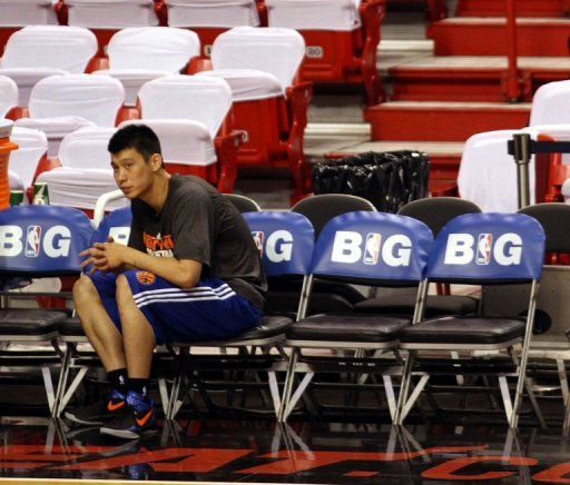Jeremy Lin trained with the New York Knicks as they faced the Miami Heat in the first round of the playoffs