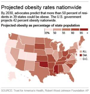 Graphic shows projected obesity rates in states across the nation
