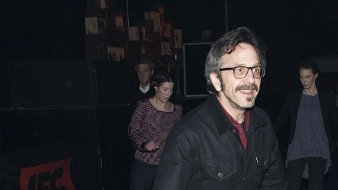 """IMAGE DISTRIBUTED FOR IFC - Star of the upcoming IFC series """"Maron"""", Marc Maron roller skates at IFC's 2013-14 Upfront Unexpectaganza on Thursday, April 11, 2013 in New York City, New York. (Photo by Charles Sykes/Invision for IFC/AP Images)"""