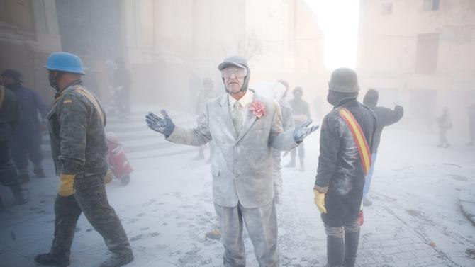 Els Enfarinats Festival Celebrated With Flour Fight In Ibi
