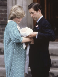 FILE - In this June 22, 1982 file photo Britain's Prince Charles, Prince of Wales, with his wife Princess Diana taking their newborn son Prince William, as they left St. Mary's Hospital, Paddington, London. William, the Duke and and Kate, Duchess of Cambridge are very pleased to announce that the Duchess of Cambridge is expecting a baby, St James's Palace officially announced Monday Dec. 3, 2012. (AP Photo/John Redman, File)
