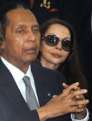 "Former Haitian president Jean-Claude ""Baby Doc"" Duvalier arrives on Febuary 28, 2013 in court in Port-au-Prince. Duvalier angrily defended his rule Thursday at a hearing on whether he can be charged with crimes against humanity"