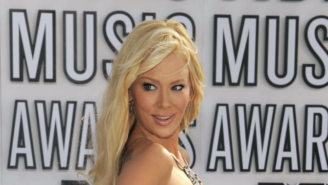 FILE - This Sept. 12, 2010 file photo shows Jenna Jameson arriving at the MTV Video Music Awards in Los Angeles. Jameson has been arrested on suspicion of battery after a report that she attacked someone at an Orange County home on Saturday April 6, 2013. Police say former adult film star Jenna Jameson has been arrested after a report that she attacked someone at an Orange County home. (AP Photo/Chris Pizzello, File)