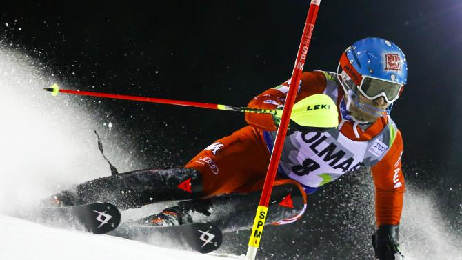 Gross of Italy clears a gate during the men's World Cup Slalom skiing race in Madonna di Campiglio