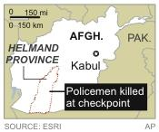 Map locates Helmand province in Afghanistan where policemen were killed at a checkpoint.