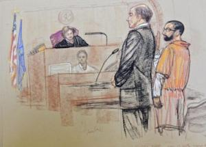 A British national accused of operating a website that promoted jihad and supported al Qaeda is pictured as he plead guilty in this courtroom sketch in U.S. District Court in New Haven