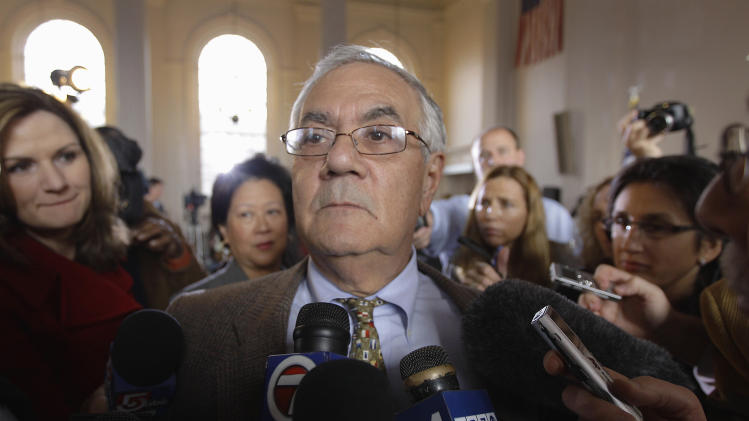 Rep. Barney Frank, D-Mass., is surrounded by members of the media after announcing he will not seek reelection in  2012, Monday, Nov. 28, 2011, in Newton, Mass. (AP Photo/Stephan Savoia)