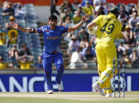 Afghanistan's bowler Hamid Hassan appeals unsuccessfully for a caught behind attempt on Australia's batsman Steve Smith during their Cricket World Cup match in Perth